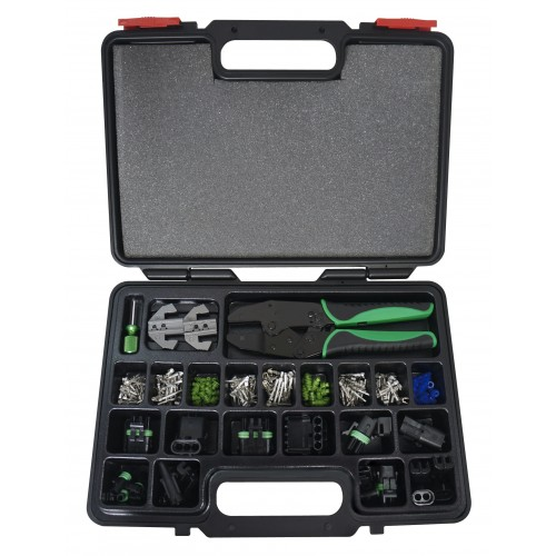 220pc weather pack interchangeable ratcheting crimping tool accessory set. Black Bedroom Furniture Sets. Home Design Ideas