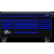 """Extreme Tools DX722117RCBKBL - DX Series 72"""" 17 Drawer 21"""" Deep Roller Cabinet - Black w/Blue Drawer Pulls"""