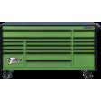 "Extreme Tools DX722117RCGNBK - DX Series 72"" 17 Drawer 21"" Deep Roller Cabinet - Green w/Black Drawer Pulls"