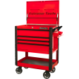 """Extreme Tools EX3304TCRDBK - 33"""" 4 Drawer Deluxe Tool Cart with Bumpers, Red with Black Drawer Pulls"""
