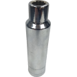 "SK Hand Tool 40822 - 11/16"" 12PT Deep Chrome Socket - 1/2"" Drive"