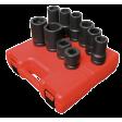 """1"""" Dr 10pc SAE & Metric H.D. Wheel Impact Socket Set"""