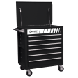 Full Drawer Professional Duty Service Cart - Black